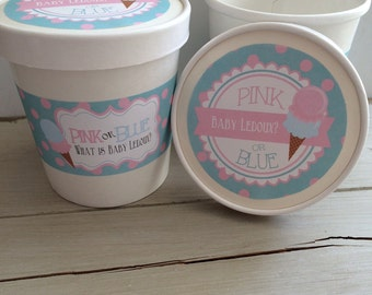 16oz Gender Reveal Hot or Cold Ice Cream Paper Party Favor Cups with Paper Lids and labels(12)