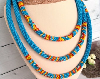 Blue necklace Long Seed Beaded  Lariat Transformer Necklace Statement Beadwork  necklace Gift for woman Gift for her