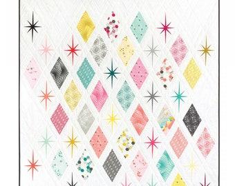 Atomic Starburst Quilt Pattern by Violet Craft, Diamond Quilt, Star Quilt