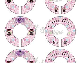 193M: Pink Ninja girl Baby Closet Dividers