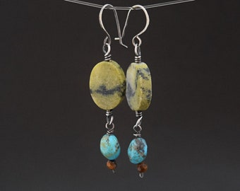 Turquoise and Serpentine Sterling Silver Earrings with Tigers Eye