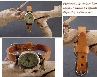 leather camel tobacco Brown vintage Eiffel Tower watch Jewelry Watch adjustable personalized gift idea