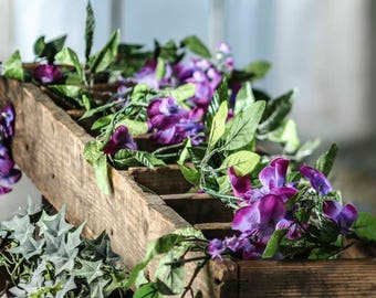 SALE Artificial Wisteria Flower Purple Leaf Garland Greenery Runner Rustic Leaves Decor Wedding Faux Leaf Outdoor Mantle Table Woodland