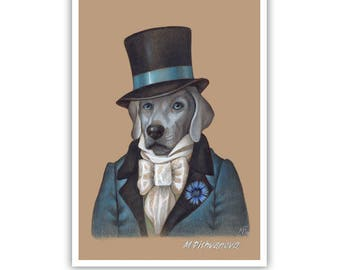 Weimaraner Art Print - Lord - Dapper Dog Wall Art - Pets in Costumes - Whimsical Dog Portraits by Maria Pishvanova