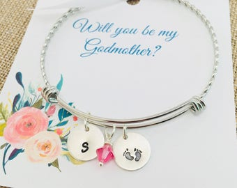 Godmother Bracelet, Godmother Gift, Will you for be my Godmother, Sterling Silver Godmother