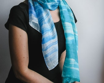 Hand Painted Long Silk Scarf - modern scarf