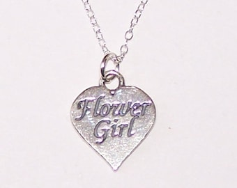 Sterling FLOWER GIRL Pendant and Chain - Necklace - Wedding