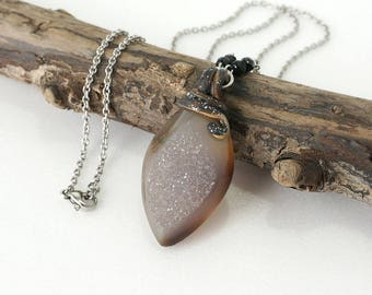 Druzy Necklace in Semi-Opaque Gray Natural Color Pendant, Unique Crystal Stone Jewelry