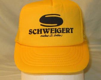 "Vintage Hat Snapback Mesh Trucker Cap Schweigert Makes it Better 7.5"" Bill 1980s"