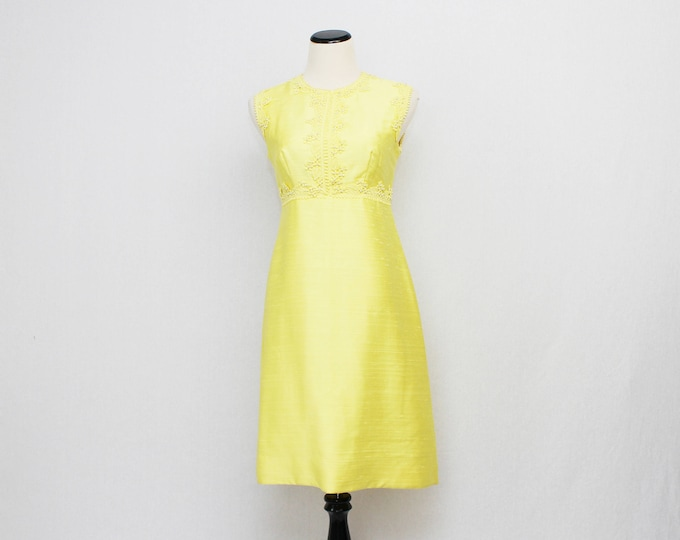 60s Yellow Shantung Silk Party Dress - Sylvia Ann Vintage 1960s Crochet Lace Applique Bust Cocktail Dress