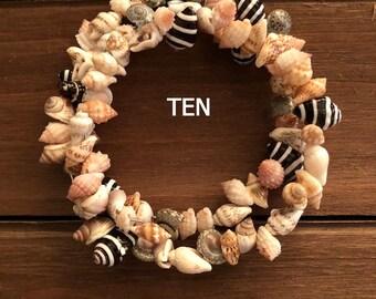 Wire Memory Bracelets, Glass Beads, Sea Shells