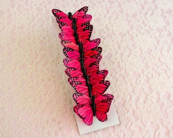 NEW ITEM! Red Fuchsia Feather Butterflies 12 Monarch Butterflies 2 INCH Wingspan / More Sizes & Color Options Available! / Cake Toppers