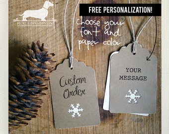 Natural Snowflake. Personalized Gift Tags (Set of 12) -- (Brown Kraft Paper, Bridal Shower, Wedding Favor Tag, Free Personalization, Custom)