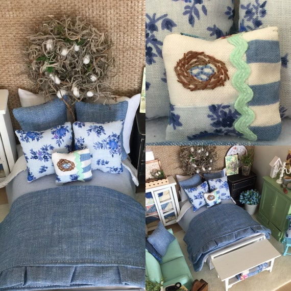 Miniature Denim Blue Country Bedding and Bed with Handstitched Birds Nest Pillow - One of a kind