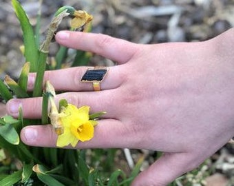 Rough Black Tourmaline Adjustable Ring