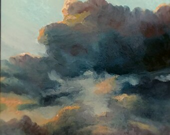 Original oil painting by Laura Campos//cloud painting//sky painting//wall art//storm clouds//housewarming//cottage//mini painting//birthday