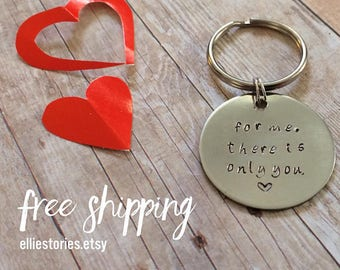 """Men Valentine Gift Boyfriend Husband Hand Stamped KeyChain """"only you"""" Personalize Custom Initials Guy Present, Father from Daughter"""