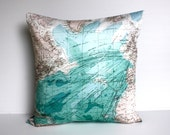 Vintage map print / Map pillow cover/ eco friendly cushion map / ATLANTIC OCEAN decorative pillow/ cushion cover/ pillow, 16 inch, 41cm