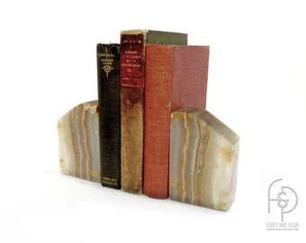 Cream Grey and Rust Onyx Bookends a Pair