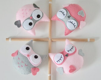 Bébé Mobile, Owl Mobile, pépinière Decor, idée de cadeau de douche bébé, Baby Girl, Mobile bébé personnalisée, faite d'ordre écologique, bois, rose