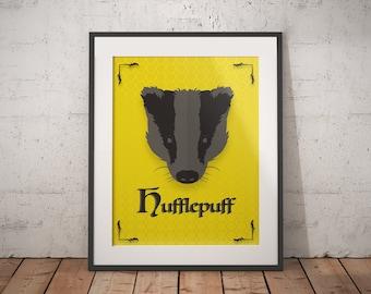 Hufflepuff Poster - Hufflepuff Print - Harry Potter Poster - Harry Potter Wall Art - Hogwarts House Decor - Harry Potter Gift - Book Decor