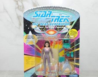 Vintage Star Trek The Next Generation Lieutenant Commander Deanna Troi, Action Figure, Playmates, 6070, 6019, 1993, Counselor, Enterprise