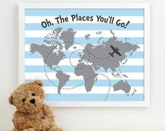 nursery quote art, inspirational nursery art for babys room boys wall art airplane kids room decor travel world map nursery map of the world