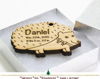 Personalized Woodland Hedgehog Ornament // Baby's First Christmas Birth Stats Keepsake Favor - Hedgehog Nursery Decor -SKU#364