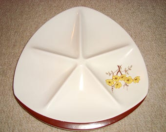 "1950s Carlton Ware Party 12"" Serving Dish. Pattern 4493. Mimosa. Triform shape. Five Sections. Snack/ Party Plate."