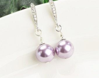 Pearl Drop Earrings -  Purple Earrings - Bridesmaids Earrings - Lavender Earrings - Bridesmaid Jewelry - Wedding Jewelry - Swarovski Jewelry