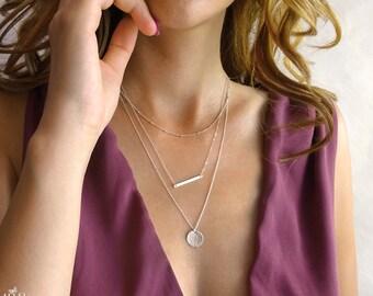 Bar necklace set - hammered sterling silver bar - necklace layered set