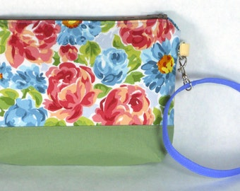 Bright Flowered / Floral Wristlet / Small Purse / Handbag or Cosmetic Bag