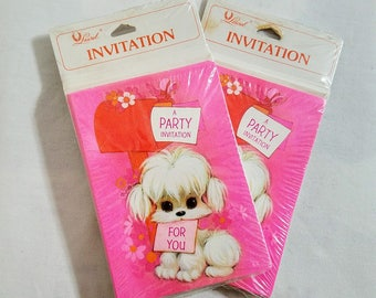 Party Invitations White Poodle Puppy New Unopened Card Set Two Packages