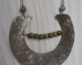 Hammered Nickel Crescent Moon Statement Necklace with Magnasite Turquoise