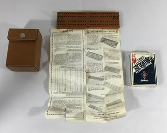 Cribbage Board With Pegs, Cards, Travel Case, Vintage Druerke Card Game, Vintage Card Game, Vintage Cribbage Board, Vintage Drueke