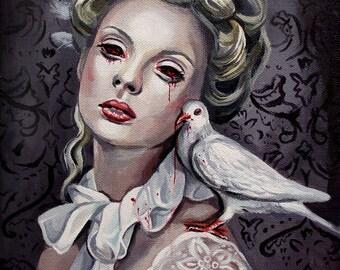 "8 x 10, Fine Art Print, ""Stepsister"", painting by Kamille Freske, gothic art, Cinderella, horror, spooky, dark art, surreal art, low brow"