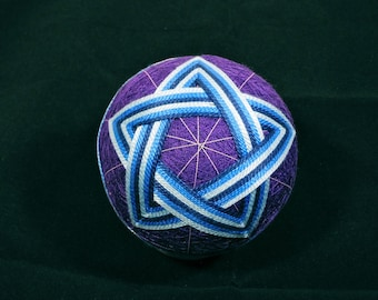 Temari Ball Ornament Blue and Teal Stars on Purple Home Decor Wedding Gift