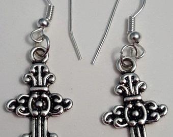 Tibetan Silver Patterned Cross Earrings
