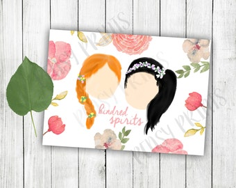 Anne and Diana illustration, kindred spirit, kindred spirits, Anne of Green Gables, best friend gift, friend gifts