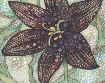 Flower- Chocolate Lily 5 x 7 print of detailed watercolour artwork in rich and whimsical purple mauve and olive earth tones