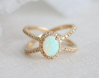 Opal Engagement Ring, Australian Opal Ring, Crystal Opal Ring, Yellow Gold Opal Ring, Opal Diamond Ring, Oval Opal Ring, Fire Opal Ring, 14k