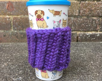 Hand Knitted Cup Cosy | Purple | One Size | Violet | Knit | Handmade | Coffee Sleeve | Hand Knitted | Gift | Present | Sister, Mum, Aunt