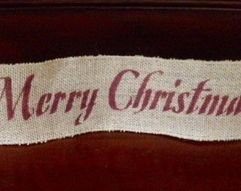 """Primitive Merry Christmas Wired Burlap Ribbon Banner Ornament Garland 4""""x18"""" Barn Red"""