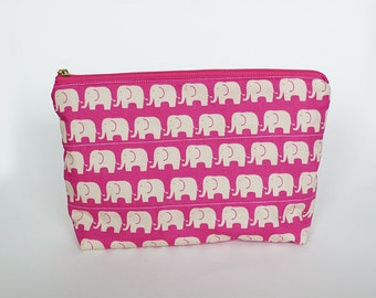 Cosmetic bag, elephant fabric, pink and cream elephant design, cotton pouch, gadget pouch, pencil case