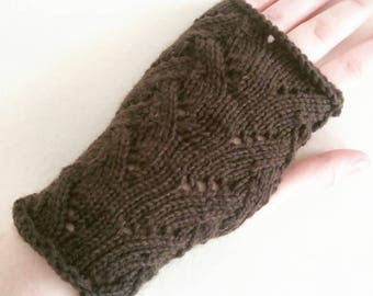 Hand knitted lace fingerless gloves