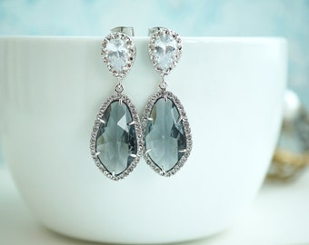 Large Teardrop LUX Rhodium Plated Cubic Zirconia, Grey Glass Drops Earrings. Bridesmaids Jewelry, Bridal. Wedding Earrings. Glass Stones.
