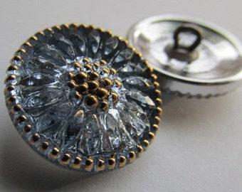 Light Sapphire Czech Glass Daisy Button, 18mm Czech Glass Button, 18mm Button, Daisy Button, Czech Daisy, Czech Glass Buttons,01170108SAP