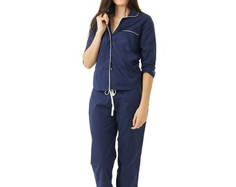 Cotton Pajamas - Classic Long Sleeve Blue with White Trim