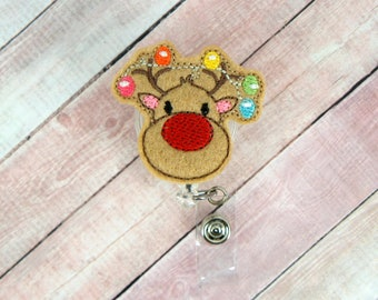 Lighted Deer Badge Reel - Lighted Deer - Badge Reel - Feltie Badge Reel- Retractable ID Badge Holder - Badge Pull