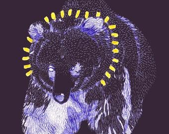 Sun bear postcard   set of 5   A6 greeting card   purple + white + gold   bear